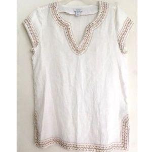Kenar Shirt White 100% Linen Embroidered Tunic